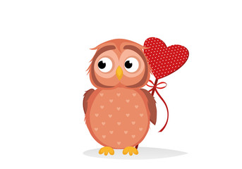 Cute owlet waiting to give heart a gift for Valentine's Day