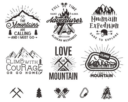 Set of mountain climbing labels, mountains expedition emblems, vintage hiking silhouettes logos and design elements. Vector retro letterpress style isolated. Wilderness patches, insignia