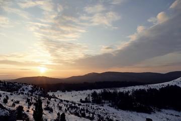 Obraz Zimowy świt - fototapety do salonu