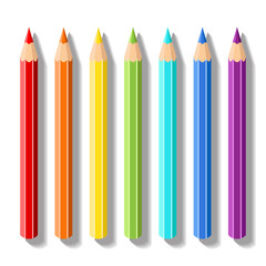 Set realistic colored pencils. Pencils of rainbow colors. Vector art supplies for drawing, sketching, graphics, painting