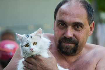 Father and cat