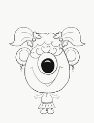 Coloring for kids, funny little monster girl