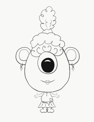 Coloring for kids, funny little eared monster girl