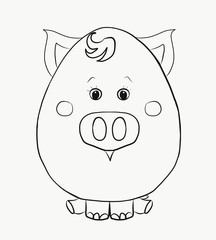 Coloring for kids, funny pig boy