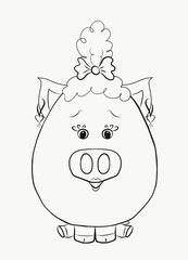 Coloring for kids, funny pig girl