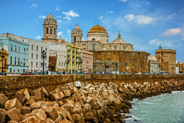 Foto op Plexiglas Stad aan het water Cadiz, Spain. Seafront Cathedral Campo del Sur