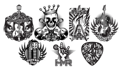 Set of monochrome vector pattern on the theme of rock music, rock and roll