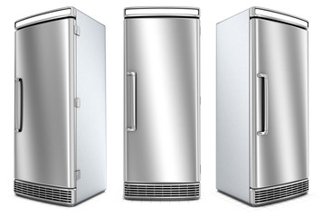 Closed fridge with a polished steel door. 3d image set isolated on white.