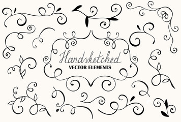 big floral set for design: Hand drawn floral elements. Vignettes, curls, corners ink drawing.
