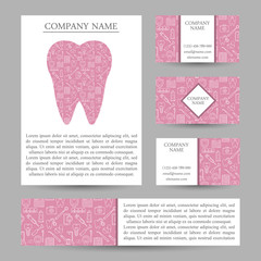 Vector set business card templates dental clinic. Dental busines card.