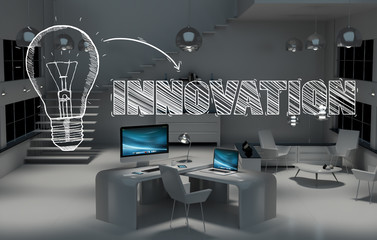 Innovation hand drawn concept in office 3D rendering
