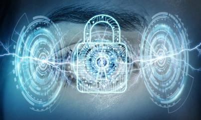 Close-up of woman digital eye padlock concept 3D rendering