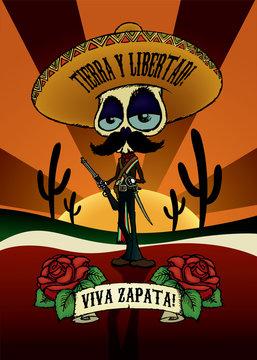 Viva Zapata!Cartoon skeleton character illustration of Emiliano Zapata.Poster design