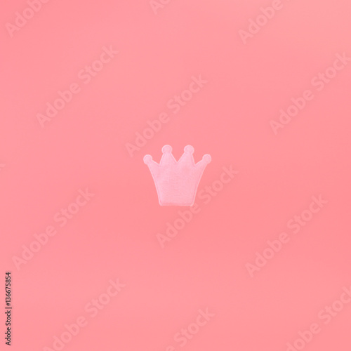 Pink Crown On A Pink Background Minimal Concept Photo Avatar