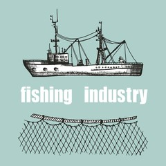 fishing trawler and nets vector illustration