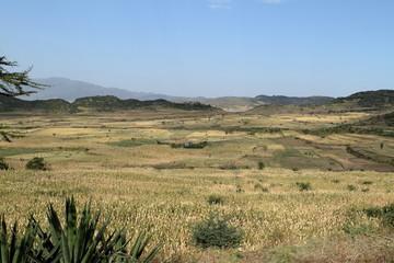Die Landschaft bei Lalibella in Äthiopien