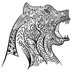 Zentangle stylized doodle vector of bear head.