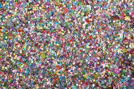 Surface coated with colorful sequins