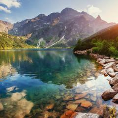 Jezioro wysoko w Tatrach Sea Eye. Polska