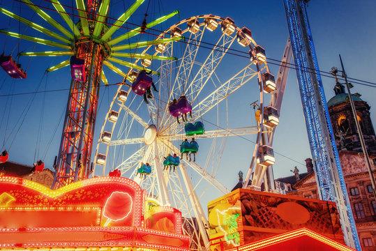 amusement park carousel Beautiful night lighting