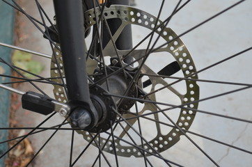 bicycle with a part of brakes