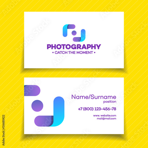 Business card with photography logo on white background used for business card with photography logo on white background used for corporate identity photo studio photo reheart Image collections