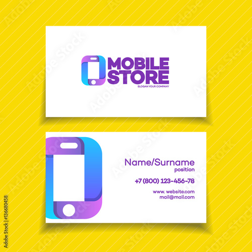Mobile store business card design template with phone logo on yellow mobile store business card design template with phone logo on yellow background can used for mobile reheart Gallery