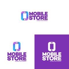 Mobile store logo set template with phone can used for mobile shop, phone service and repair. Perfect for your business design. Vector Illustration