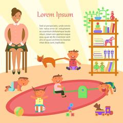 Happy childhood banner. Children playing inKindergarten. Vector illustration eps 10