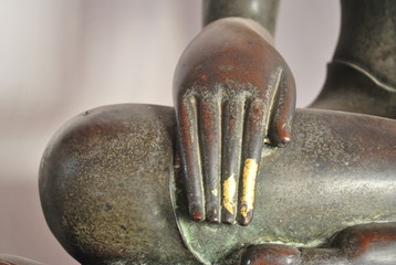 Beautiful Old Brass Statue Hand Of Buddha