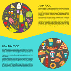 Banner or flyer with Healthy and unhealthy fat fast food. Vector illustration eps 10