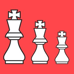 Chess figure king on a red background