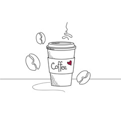 Hand drawn coffee cup to go isolated