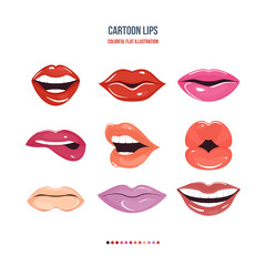 Set female lips with a variety of emotions, facial expressions.
