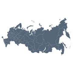 Russia map. Isolated on white background. Vector illustration.