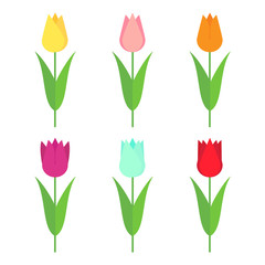 Tulips set icon. Flowers collection isolated on white background. Vector illustration.