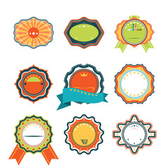 Retro isolated badges set for happy celebration of holiday.