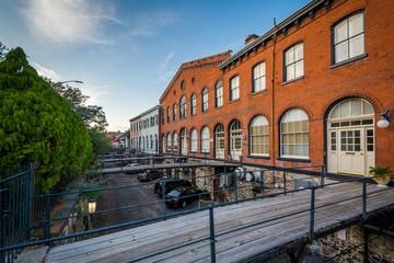 Old brick buildings and wood bridges in Savannah, Georgia.