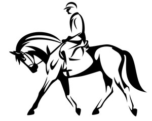horse rider black and white vector design
