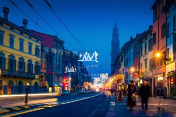 Night street in the center of Parma, Emilia-Romagna, Italy.