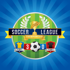 Vector of soccer league with team competition and scoreboard on green field background.