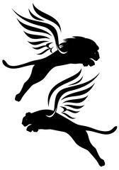 winged lions black and white vector design