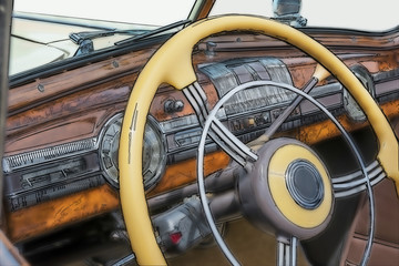 Digital photo illustration: Close up interior of 1950s automobil