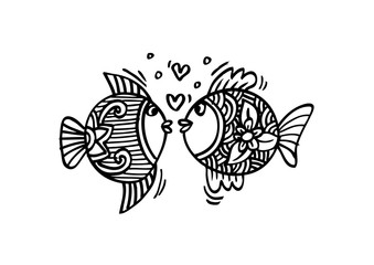 Two fishs  in love. Hand Drawn Fish.
