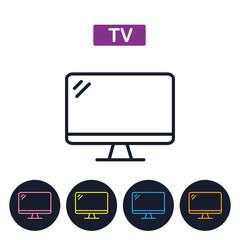 VectorTV icon.  Simple thin line icon .