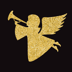 Gold vector angel silhouette on black background