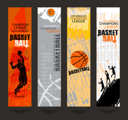 Set of banners for basketball. Sports Templates. Grunge style. Abstract background. Players in basketball. Hand drawing textures. EPS file is layered(clipping mask).