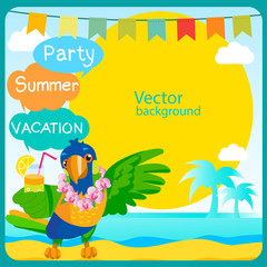 Tropical Island Art. Summertime Traveling Template With Space For Text. Parrot Mascot. Summer Travel Ideas. Travel Background. Vector Tropical Beach.