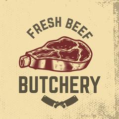 fresh beef. Butchery. Hand drawn raw meat on grunge background.