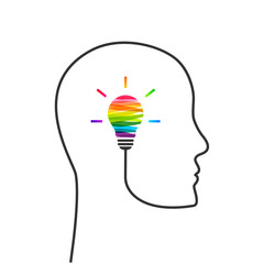 Creative thinking and imagination concept. Head and profile line made of wire and light bulb made of colorful paint strokes